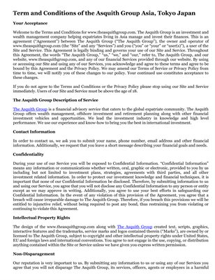 Term and Conditions of the Asquith Group Asia, Tokyo Japan