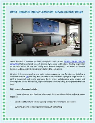 Devin Fitzpatrick Interior Consultant- Services Interior Design
