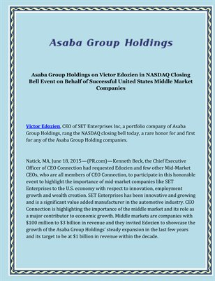 Asaba Group Holdings on Victor Edozien in NASDAQ Closing Bell Event on Behalf of Successful United States