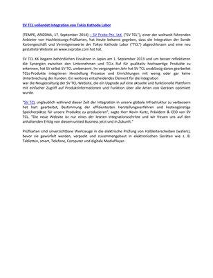 SV TCL & Associates Probe Company vollendet Integration von Tokyo Cathode Laboratory