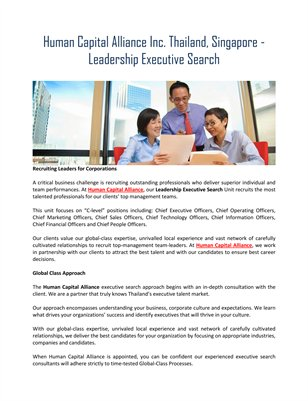 Human Capital Alliance Inc. Thailand, Singapore - Leadership Executive Search