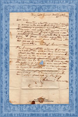 OCT. 9TH, 1843 WILLIAM J. CONNER LETTER, MAYFIELD, GRAVES COUNTY, KENTUCKY