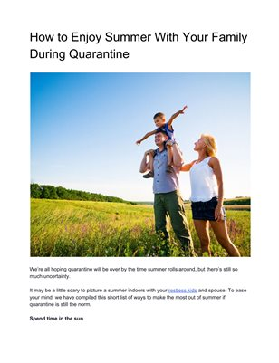 How to Enjoy Summer With Your Family During Quarantine