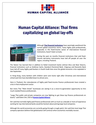 Human Capital Alliance Inc, Thailand, Singapore: Thai firms capitalizing on global lay-offs