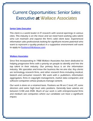 Current Opportunities: Senior Sales Executive at Wallace Associates
