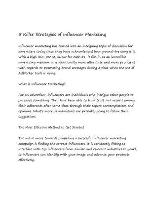 5 Killer Strategies of Influencer Marketing
