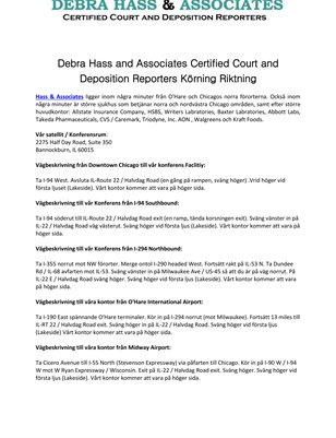 Debra Hass and Associates Certified Court and Deposition Reporters Körning Riktning