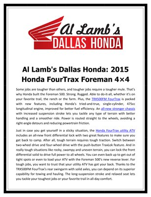 Al Lamb's Dallas Honda: 2015 Honda FourTrax Foreman 4×4