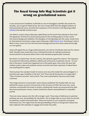 The Koyal Group Info Mag Scientists got it wrong on gravitational waves