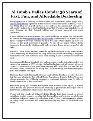 Al Lamb's Dallas Honda: 38 Years of Fast, Fun, and Affordable Dealership