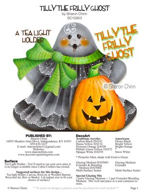 Tilly the Frilly Ghost Painting Pattern by Sharon Chinn - SC15955