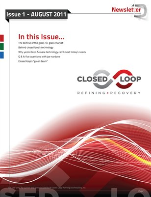 Closed Loop Refining + Recovery Newsletter | Issue 1 - Aug 2011