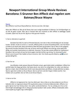Newport International Group Movie Reviews Barcelona: 5 Grunner Ben Affleck skal regelen som Batman/Bruce Wayne