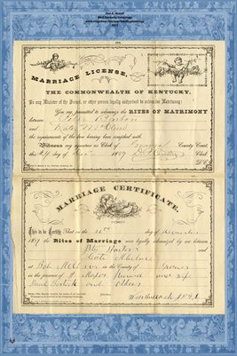 1889 Marriage License and Certificate for Peter Barton and Kate McClure, Graves County, Kentucky