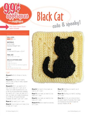 Craftique Crochet - Black Cat Applique