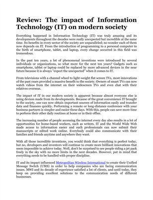 Review: The impact of Information Technology (IT) on modern society