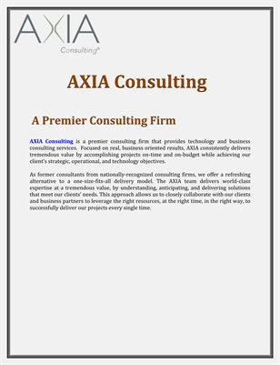 AXIA Consulting: A Premier Consulting Firm