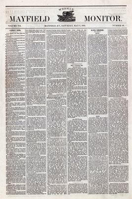 (PAGES 1-2 ) MAY 6, 1882 MAYFIELD MONITOR NEWSPAPER, MAYFIELD, GRAVES COUNTY, KENTUCKY