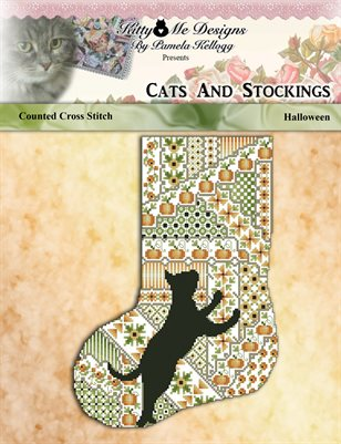 Cats And Stockings Halloween Cross Stitch Pattern