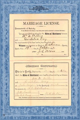 1892 Marriage Records, Wm. Willis to Cordelia Day, Hickman County, Kentucky