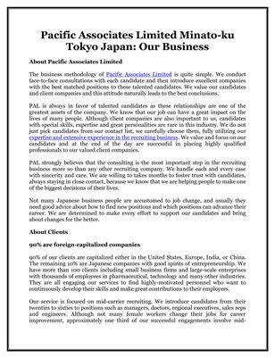 Pacific Associates Limited Minato-ku Tokyo Japan: Our Business