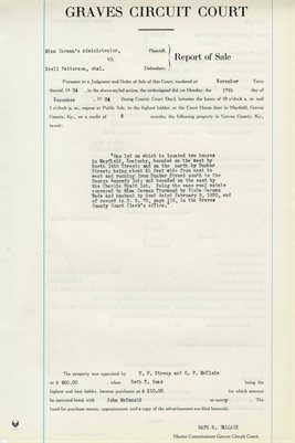 1934 COMMISSIONERS REPORT OF SALES,  MINA CARMAN'S ADMIN. vs. EZELL PATTERSON