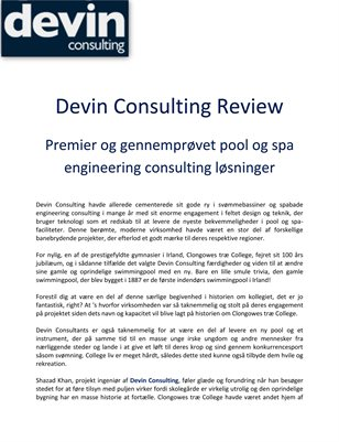 Devin Consulting Review: Premier og gennemprøvet pool og spa engineering consulting løsninger