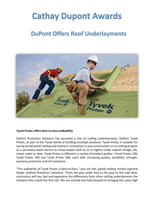 Cathay Dupont Award: DuPont Offers Roof Underlayments