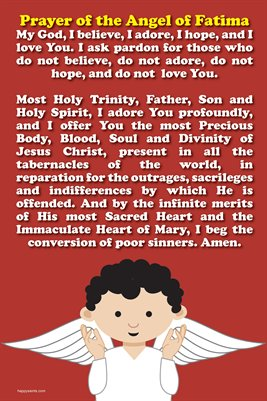 Happy Saints Prayer of Angel of Fatima Poster