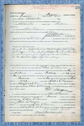 1925 State of Kentucky vs. OBEN O'CONNER, Graves County, Kentucky