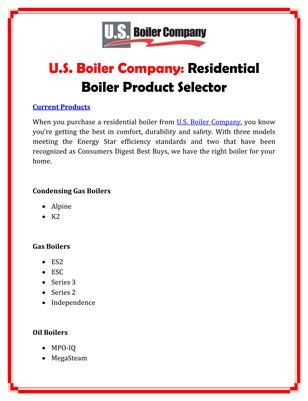 U.S. Boiler Company: Control Systems