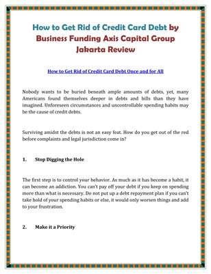 How to Get Rid of Credit Card Debt by Business Funding Axis Capital Group Jakarta Review