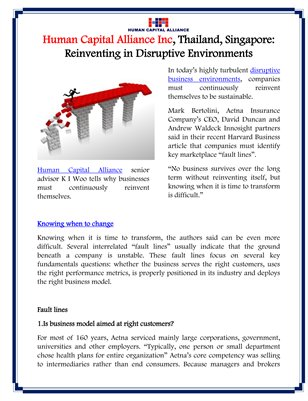 Human Capital Alliance Inc, Thailand, Singapore: Reinventing in Disruptive Environments