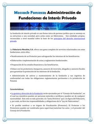 Mossack Fonseca: Administración de Fundaciones de Interés Privado