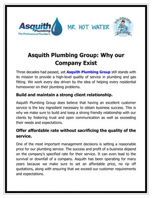 Asquith Plumbing Group: Why our Company Exist