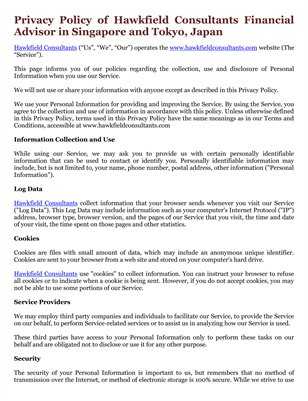 Privacy Policy of Hawkfield Consultants Financial Advisor in Singapore and Tokyo, Japan
