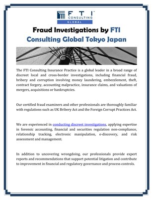 Fraud Investigations by FTI Consulting Global Tokyo Japan