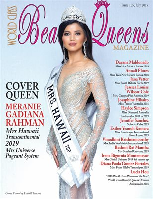 World Class Beauty Queens Magazine Issue 105 with Meranie Gadiana Rahman