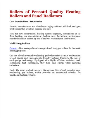 Boilers of Pensotti Quality Heating Boilers and Panel Radiators