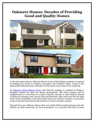 Oakmere Homes: Decades of Providing Good and Quality Homes