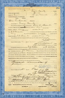 1924 State of Kentucky vs. Dora Lee Alexander, Graves County, Kentucky
