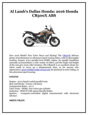 Al Lamb's Dallas Honda: 2016 Honda CB500X ABS
