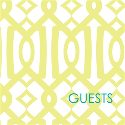 Garden Trellis guestbook in chartreuse and aqua with modern font