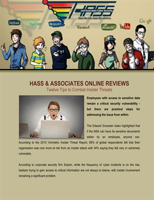Hass & Associates Online Reviews: Twelve Tips to Combat Insider Threats