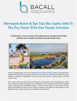 Mövenpick Resort & Spa Tala Bay Aqaba Adds To The Fun Factor With New Family Activities
