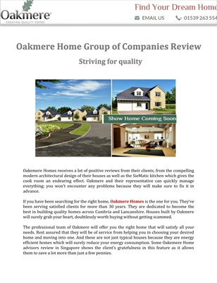 Oakmere Home Group of Companies Review: Striving for quality