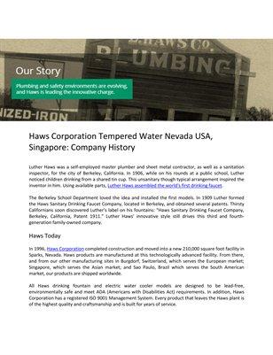 Haws Corporation Tempered Water Nevada USA, Singapore: Company History