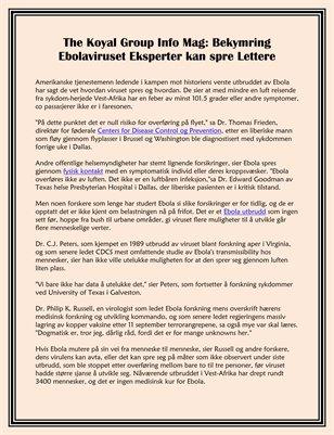 The Koyal Group Info Mag: Eksperter bekymre Ebolaviruset kan Spres Lett