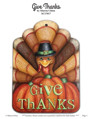 Give Thanks Turkey Painting Pattern Tutorial by Sharon Chinn SC17017