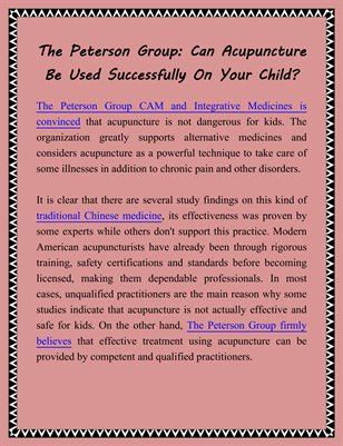 The Peterson Group: Can Acupuncture Be Used Successfully On Your Child?